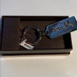 Coach Silver Horse & Carriage Key Chain NWT